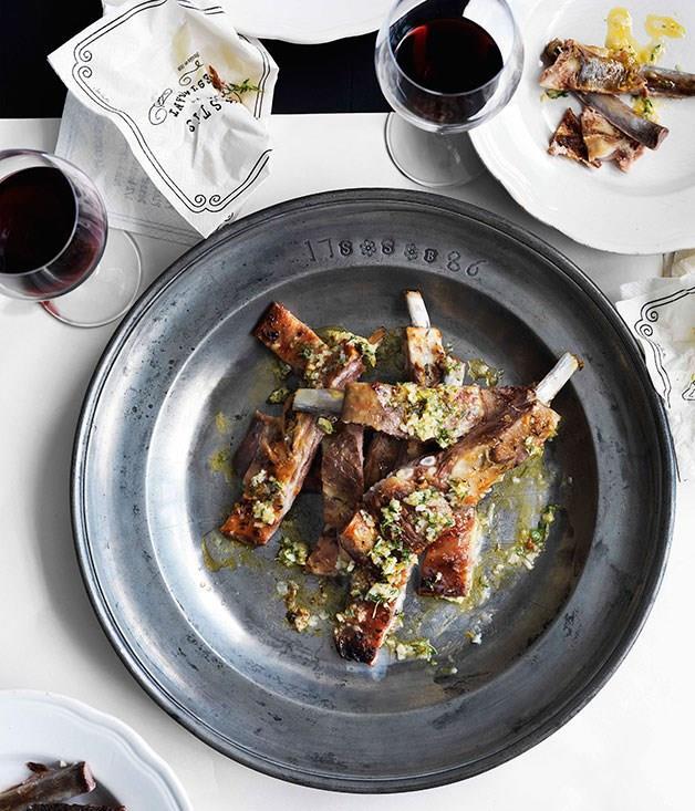 "[**Lamb ribs with garlic, lemon and thyme**](https://www.gourmettraveller.com.au/recipes/browse-all/lamb-ribs-with-garlic-lemon-and-thyme-10734|target=""_blank"")"