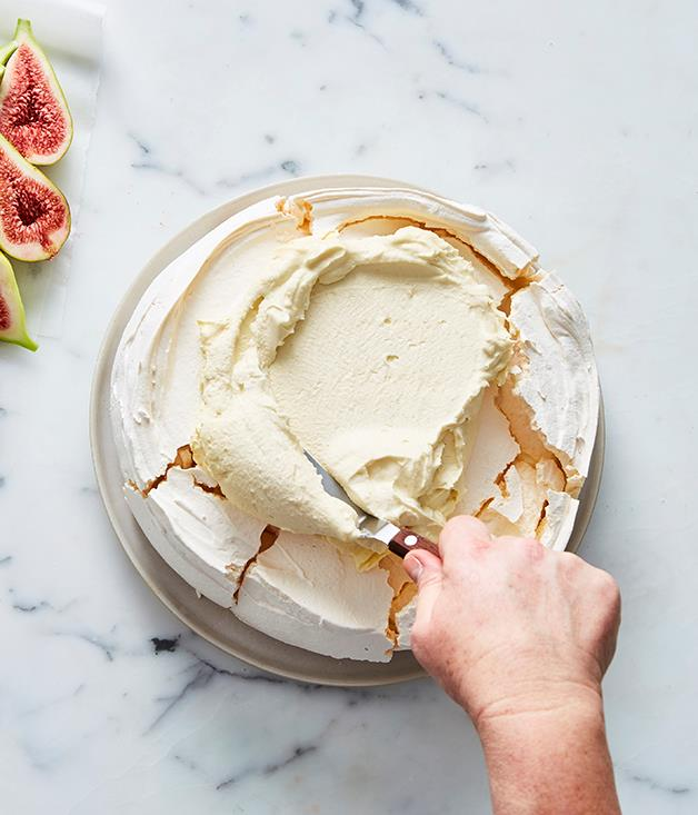 Ingram uses a mix of mascarpone and single cream for her pavlova topping.