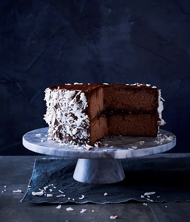 **Chocolate lamington cake** Ideal for larger crowds, this double-layer chocolate sponge and chocolate panna cotta lamington cake won't stick around for long.