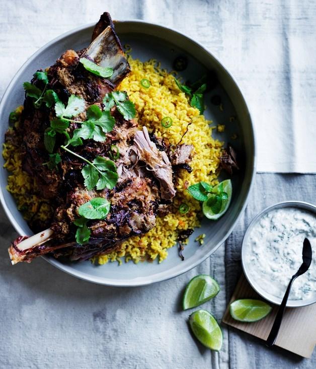 **Twelve-hour Indian-spiced lamb shoulder with saffron pilaf**