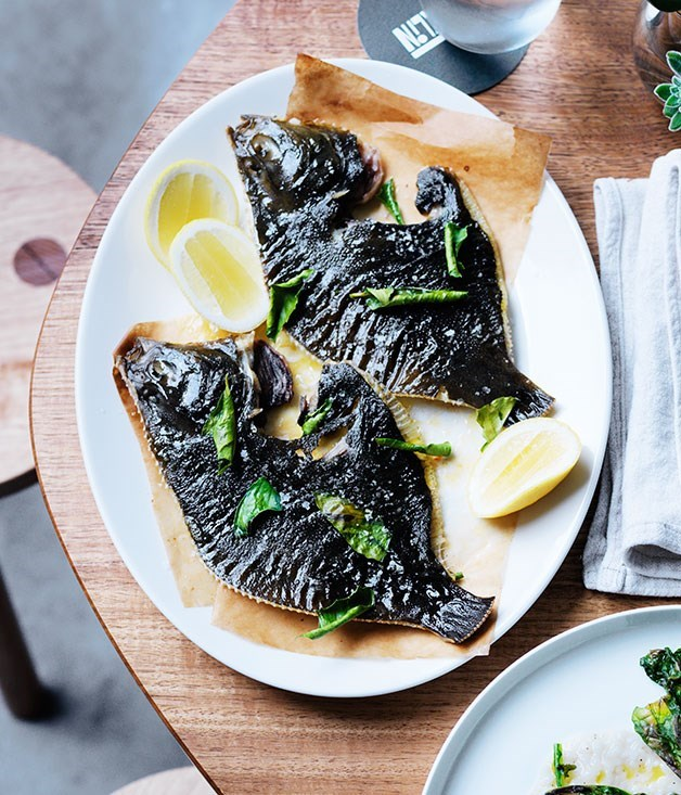 **Flounder with cultured butter and lemon leaves**