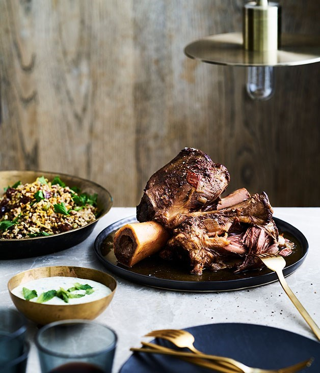 "**25. [The Henry Austin's braised beef shin with grain salad and yoghurt sauce](https://www.gourmettraveller.com.au/recipes/chefs-recipes/the-henry-austins-braised-beef-shin-with-grain-salad-and-yoghurt-sauce-9307|target=""_blank"")** <br><br> The Henry Austin's hearty braised beef shin is slow cooked until the meat is so tender it's almost falling off the bone. Accompanied by their mixed grain salad and a herby yoghurt sauce, it's a perfectly balanced and comforting meal."