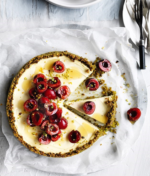 "**24. [Labne and pistachio cheesecake](https://www.gourmettraveller.com.au/recipes/browse-all/labne-and-pistachio-cheesecake-12717|target=""_blank"")** <br><br> The luscious silky texture of this tangy cheesecake makes it irresistible - the fact it's free of gluten and refined sugar is a bonus. We've topped ours with cherries, but berries would also work well. Start this recipe a day ahead to drain the yoghurt."