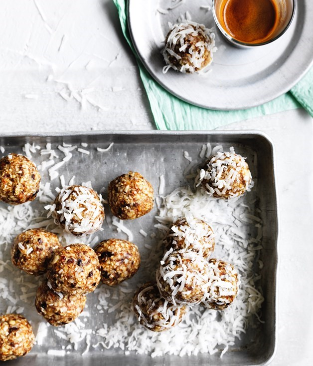 "**16. [Salted maple-almond balls](https://www.gourmettraveller.com.au/recipes/browse-all/salted-maple-almond-balls-12702|target=""_blank"")** <br><br> Some people might call these bliss or energy balls - we call them can't-stop-at-one delicious. These little bites of goodness, with a good whack of salt cutting through the sweetness, make the perfect lunchbox snack or after-dinner treat. We've rolled ours in extra coconut, but they could also be dusted in raw cacao to make them look like truffles."