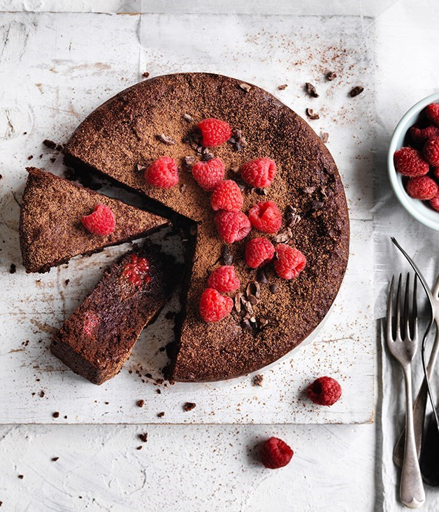 "**10. [Cacao, hazelnut and raspberry cake](https://www.gourmettraveller.com.au/recipes/browse-all/cacao-hazelnut-and-raspberry-cake-12724|target=""_blank"")** <br><br> What's not to love about the classic combo of dark chocolate and hazelnuts? In this dairy-free, gluten-free cake, the chocolatey goodness comes in the form of raw cacao, while rich rapadura sugar adds depth of flavour and a handful or two of raspberries cuts through the richness. This cake is delicious served with a dollop of thick plain yoghurt."