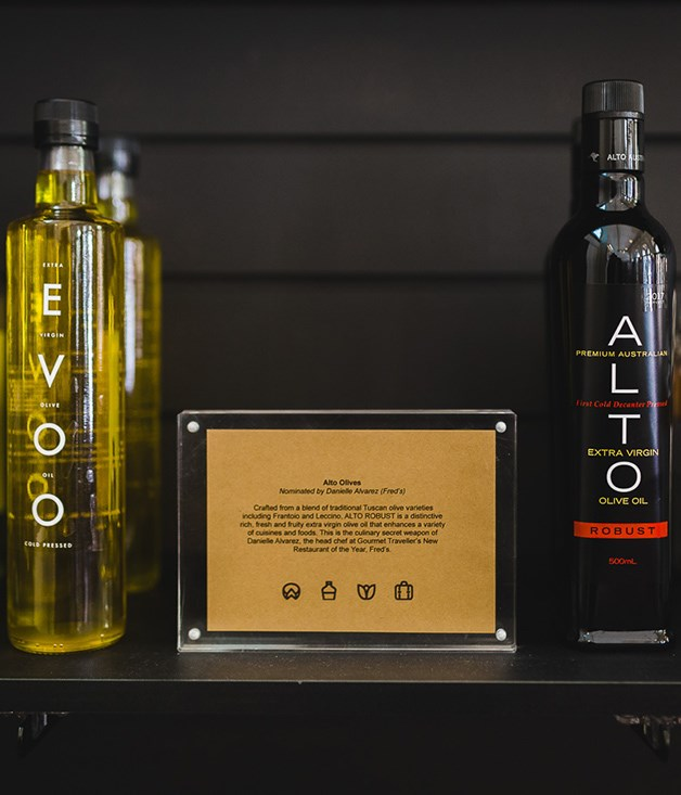 **Alto Olives Robust Olive Oil** If it's Danielle Alvarez's olive oil of choice at Fred's, our New Restaurant of the Year, it must be good. This blend of Tuscan olive varieties grown in New South Wales is fresh and fruity - ideal for dressings, marinades or atop grilled meats and roasted vegetables.  _$25 for 500ml, [sorrythanksiloveyou.com/alto-olives](http://sorrythanksiloveyou.com/alto-olives)_  Photo by Rowan Jackson.