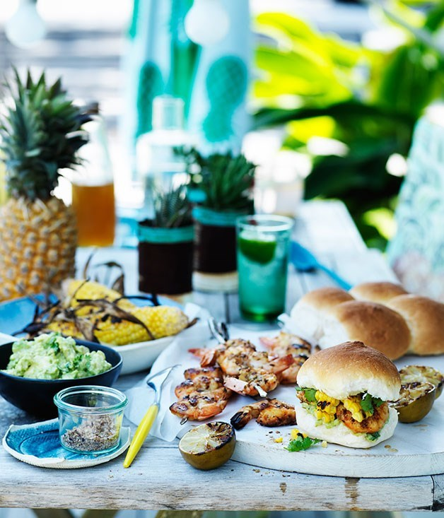 **Barbecued prawn and corn rolls with smashed avocado** Throw another shrimp on the barbie - then add smashed avo, charred corn and fluffy white rolls.
