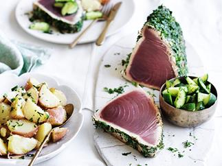 Seared tuna with dill cucumbers and potato salad