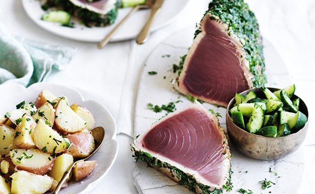 Seared tuna with dill cucumbers and potato salad