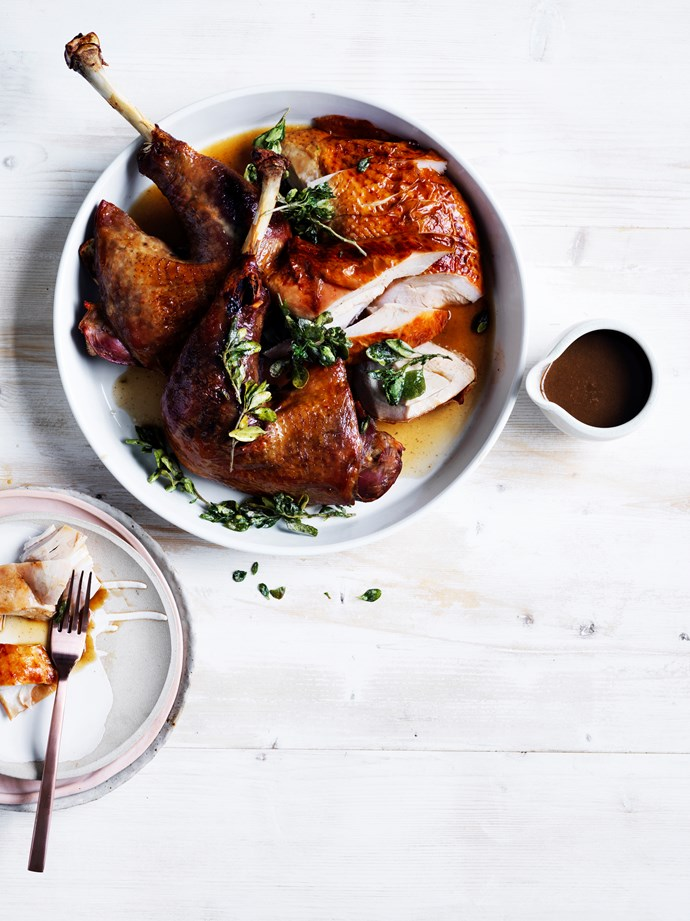 **Roast turkey with native herbs and spices** Recipe: Jock Zonfrillo, Orana  Photography: Ben Dearnley  Styling: Lisa Featherby