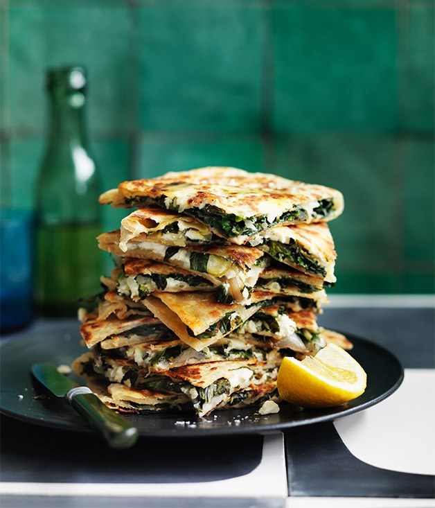 **Feta and greens gözleme** Recipe: Emma Knowles  Photography: William Meppem  Styling: Emma Knowles and Lynsey Fryers