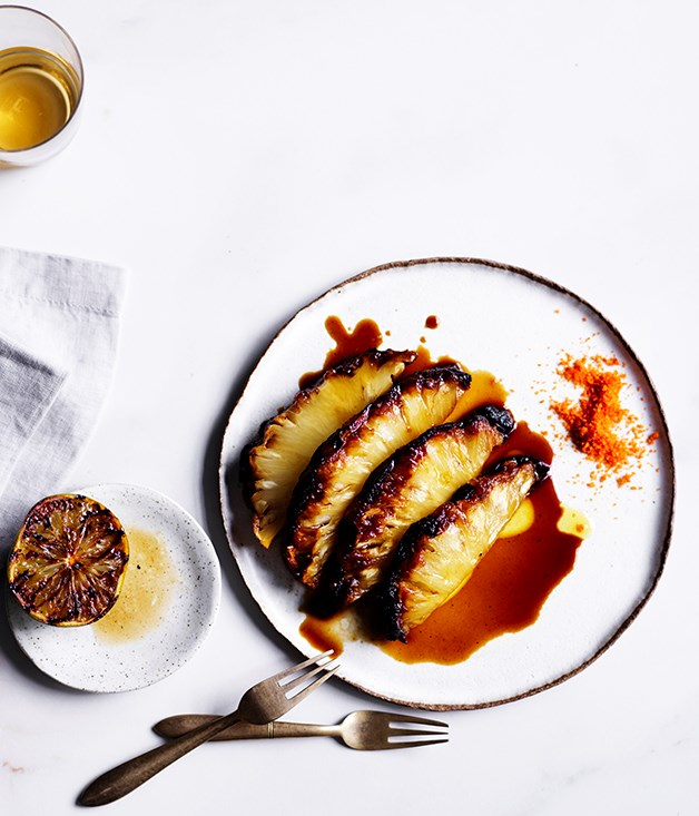 **Roasted pineapple with chilli salt** Recipe: Mat Lindsay, Ester  Photography: Ben Dearnley  Styling: Lisa Featherby