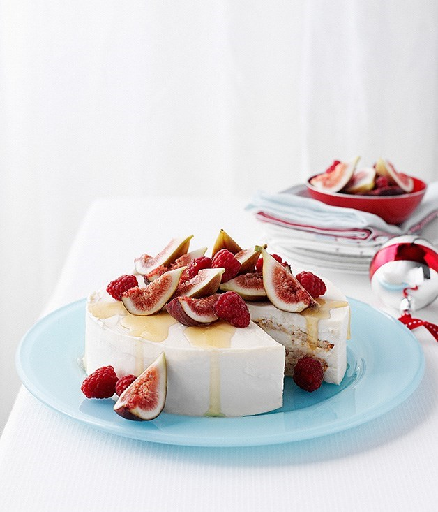 **Iced honey mascarpone and almond cake with fig salad** Recipe: Emma Knowles and Rodney Dunn  Photography: William Meppem  Styling: Emma Knowles