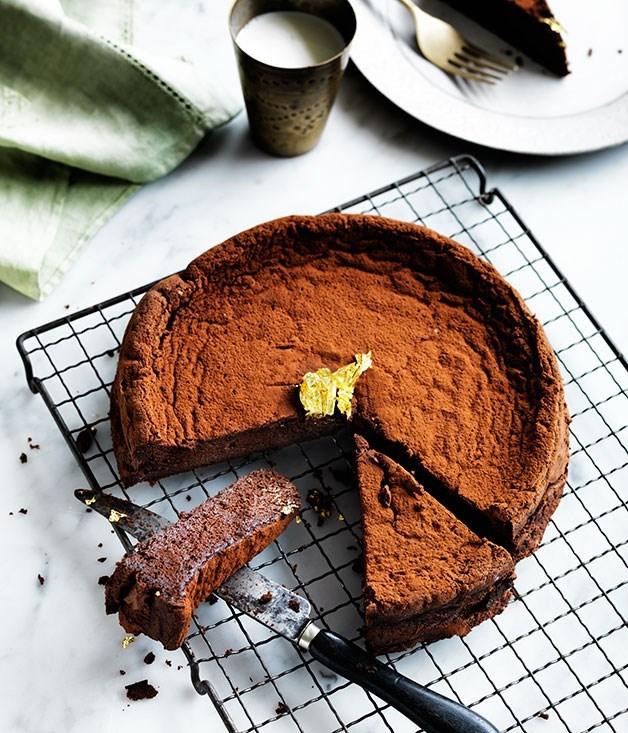 **Chocolate Manjari cake** Recipe: Nadine Ingram, Flour and Stone  Photography: William Meppem  Styling: Geraldine Muñoz