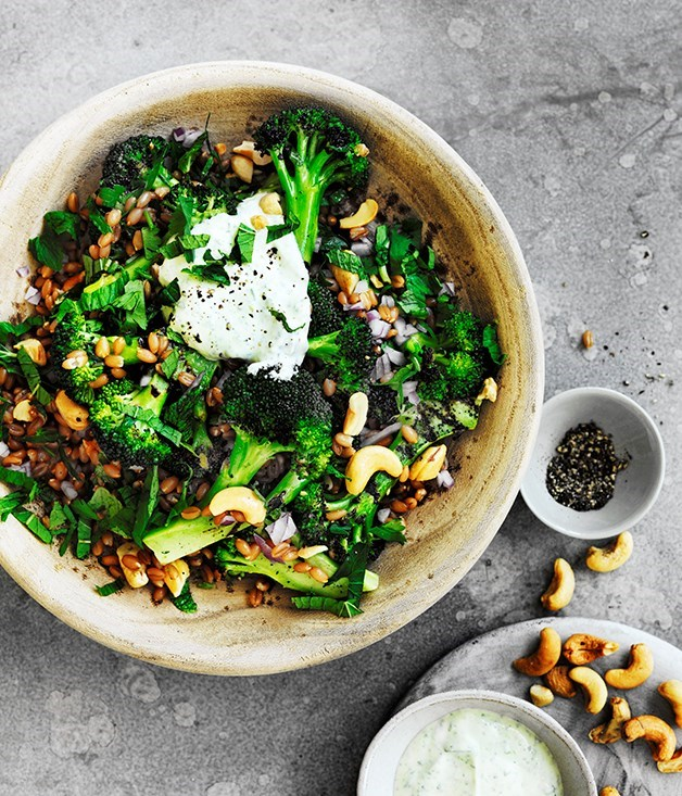 **Spelt, cashew and broccoli bowl with yoghurt dressing** Recipe: Lisa Featherby  Photography: William Meppem  Styling: Aimee Jones