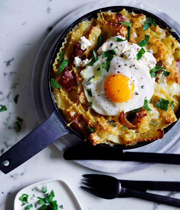 **Ham and provolone mac and cheese with fried egg** Recipe: Emma Knowles  Photography: Ben Dearnley  Styling: Emma Knowles and Lucy Tweed
