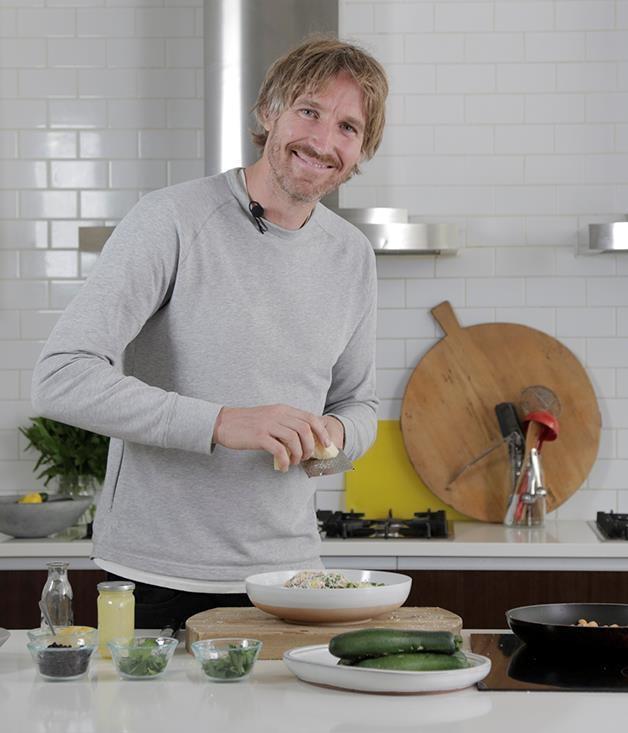 """**[Darren Robertson's shaved zucchini salad with Christmas ham and macadamias](https://www.gourmettraveller.com.au/recipes/browse-all/shaved-zucchini-salad-with-christmas-ham-and-macadamias-12922 target=""""_blank"""")**"""