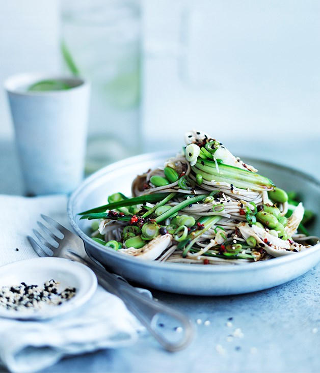 """**[Sichuan chicken salad with chilled noodles and cucumber](http://www.gourmettraveller.com.au/recipes/fast-recipes/sichuan-chicken-salad-with-chilled-noodles-and-cucumber-13775