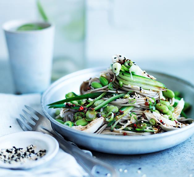 Sichuan chicken salad with chilled noodles and cucumber