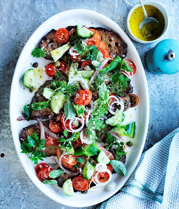 "**[Santorini salad](https://www.gourmettraveller.com.au/recipes/fast-recipes/santorini-salad-13779|target=""_blank"")**"