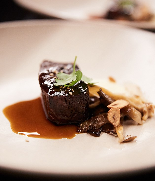 **12-hour beef cheek with fungi, kecap manis and sesame**