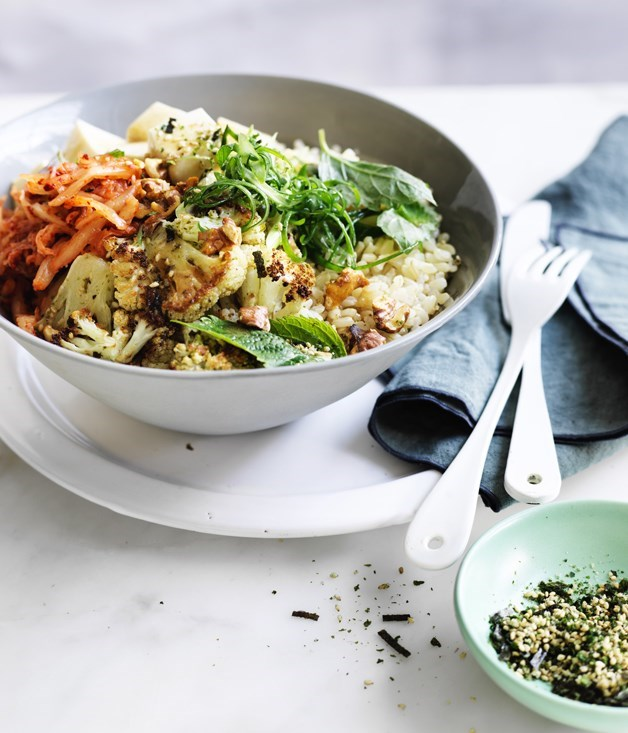 "[**Cauliflower, silken tofu and walnut rice bowl**](https://www.gourmettraveller.com.au/recipes/fast-recipes/cauliflower-silken-tofu-and-walnut-rice-bowl-13857|target=""_blank"")"