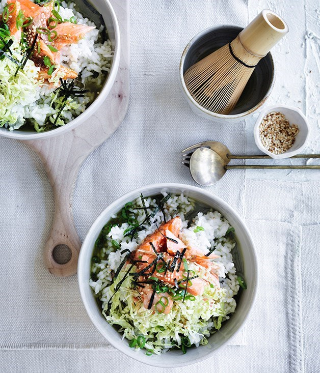 "[**Rice bowls with matcha and roast trout**](https://www.gourmettraveller.com.au/recipes/browse-all/rice-bowls-with-matcha-and-roast-trout-12748|target=""_blank"")"