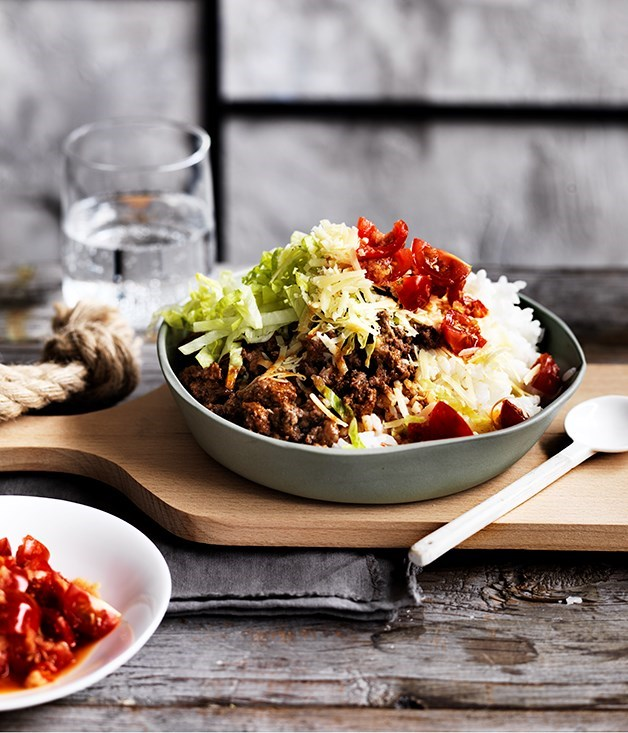"[**Beef taco rice**](https://www.gourmettraveller.com.au/recipes/fast-recipes/beef-taco-rice-13705|target=""_blank"")"