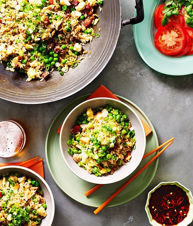 "[**Yangzhou fried rice**](https://www.gourmettraveller.com.au/recipes/browse-all/yangzhou-fried-rice-14206|target=""_blank"") <br><br> Introduced to the world by Cantonese cooks as 'Yeung Chow', Yangzhou is the original fried rice. Loaded with chicken, prawns and pork, it's enjoyed as both a main course at festivities and as a comfort dish that can be made in minutes."