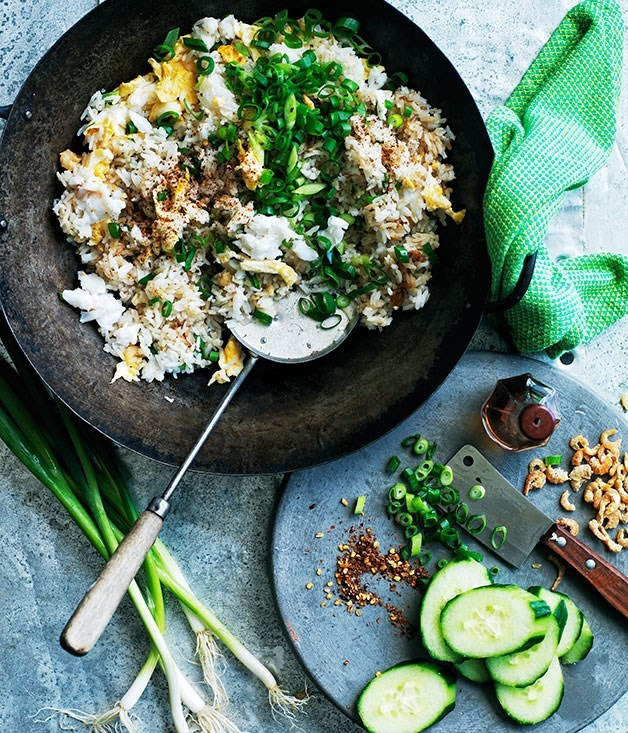 "[**Fried rice with crab, egg and cucumber**](https://www.gourmettraveller.com.au/recipes/browse-all/fried-rice-with-crab-egg-and-cucumber-12427|target=""_blank"") <br><br> A fresh take on rustic wok-tossed rice."
