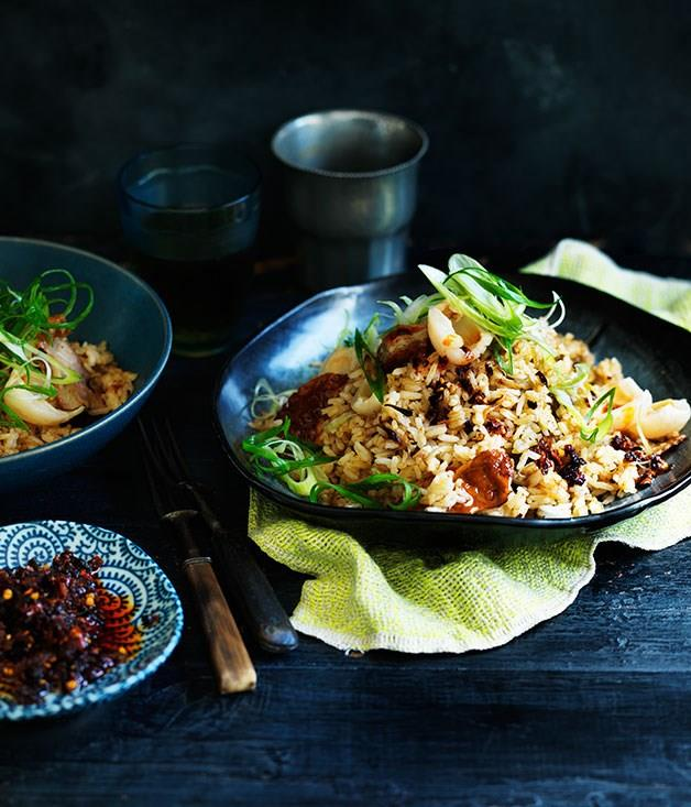 "[**Chilli fried rice with Chinese roast duck and lychees**](https://www.gourmettraveller.com.au/recipes/fast-recipes/indonesian-fried-rice-with-snake-bean-relish-13016|target=""_blank"")"