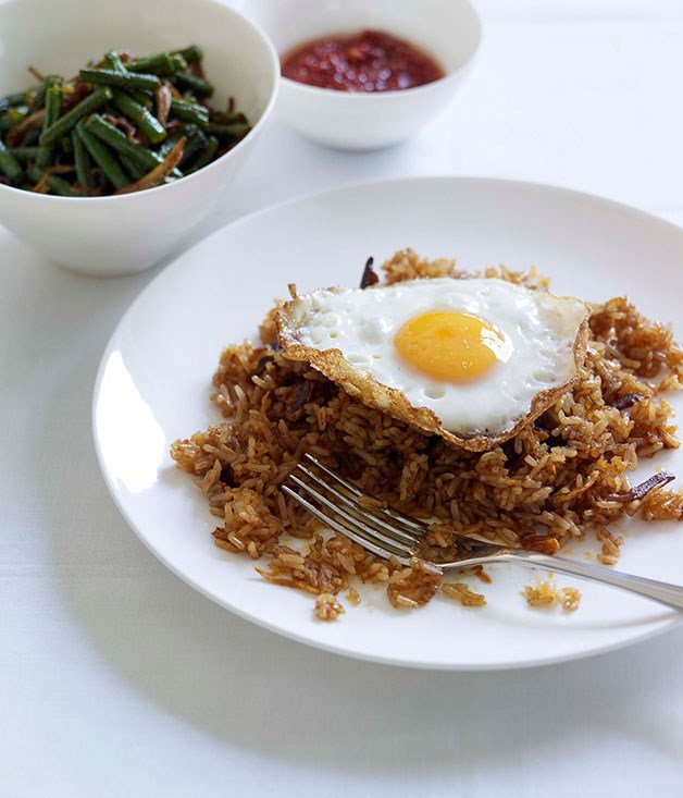 "[**Indonesian fried rice with snake bean relish**](https://www.gourmettraveller.com.au/recipes/fast-recipes/indonesian-fried-rice-with-snake-bean-relish-13016|target=""_blank"") <br><br> Made with sweet soy sauce and topped with a soft-fried egg, Nasi Goreng is an Indonesian variation of fried rice, commonly served up by street hawkers. Garlicky snake bean relish with chilli makes an exciting side."