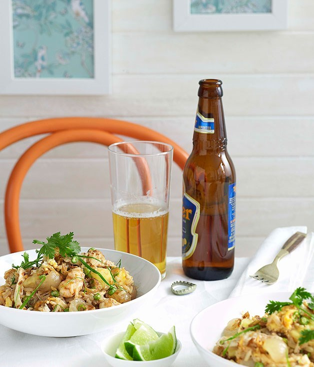 "[**Fried rice with prawns, pineapple, green onion and coriander**](https://www.gourmettraveller.com.au/recipes/chefs-recipes/fried-rice-with-prawns-pineapple-green-onion-and-coriander-8907|target=""_blank"") <br><br> A popular menu choice at [Rae's on Watego's](http://www.gourmettraveller.com.au/raes_on_wategos.htm) in Byron Bay, Andrew Gimber's Thai-style fried rice has tropical flair thanks to sweet pineapple and a sprinkling of lime."