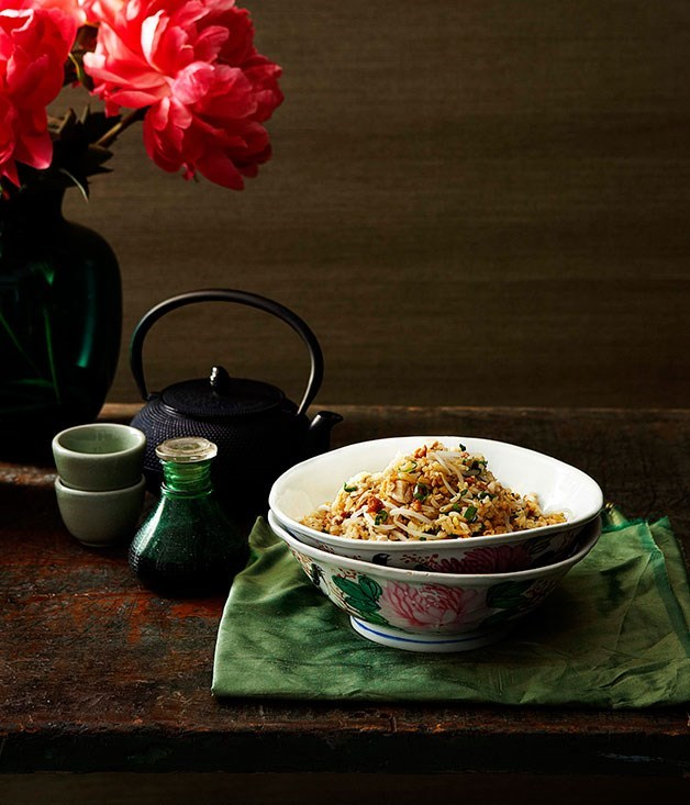 "[**Cantonese fried rice with chicken, salted fish and bean sprouts**](https://www.gourmettraveller.com.au/recipes/chefs-recipes/cantonese-fried-rice-with-chicken-salted-fish-and-bean-sprouts-7304|target=""_blank"") <br><br> This speedy take on a menu favourite from the Golden Leaf Restaurant at the [Conrad Hong Kong](http://conradhotels1.hilton.com/en/ch/hotels/index.do?ctyhocn=HKGHCCI) Hotel is full of fragrance and ready in 20 minutes - the ideal Friday night dish."