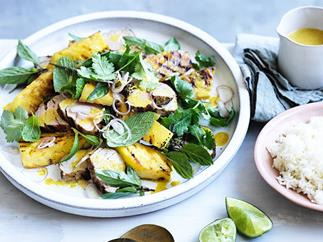 Grilled pork with pineapple and curry vinaigrette