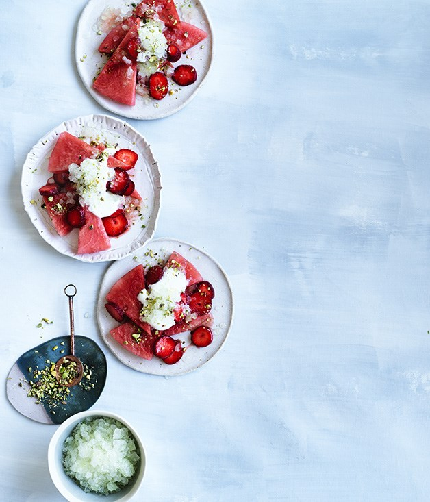 Watermelon and strawberry salad with crushed lime ice