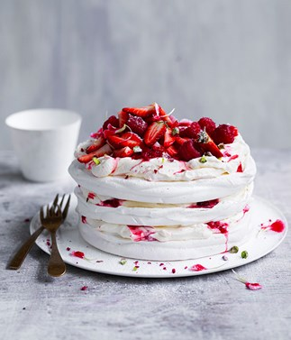 Berry and pistachio stacked pavlova