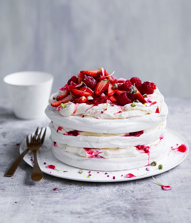 """[Berry and pistachio stacked pavlova](http://www.gourmettraveller.com.au/recipes/browse-all/berry-and-pistachio-stacked-pavlova-12960 target=""""_blank"""")"""