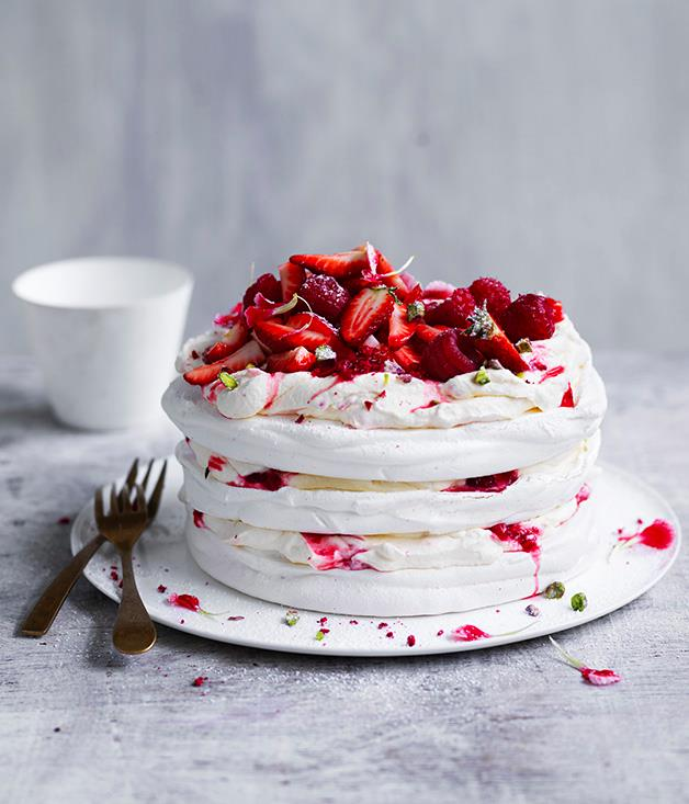 """[Berry and pistachio stacked pavlova](http://www.gourmettraveller.com.au/recipes/browse-all/berry-and-pistachio-stacked-pavlova-12960