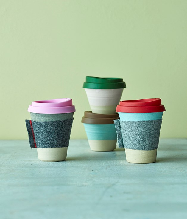 **Claycups** The brainchild of a barista and a ceramicist, Claycups are a beautiful, dishwasher-safe solution to the waste that's generated by single-use paper cups at cafés. Each cup is handcrafted by Katherine Mahoney from Australian stoneware and wrapped in a protective felt sleeve. The perfect gift for those who crave that warm and fuzzy feeling inside._[claycups.com.au](https://claycups.com.au/), small $30, $40 regular._