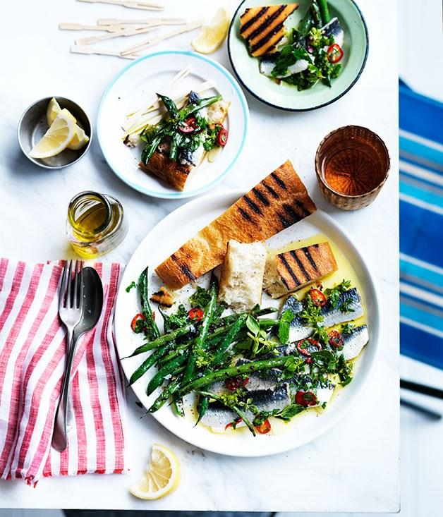"[**Marinated sardines with garlic and lemon and grilled beans**](https://www.gourmettraveller.com.au/recipes/browse-all/marinated-sardines-with-garlic-and-lemon-and-grilled-beans-12219|target=""_blank"")"