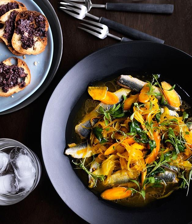 "[**Escabeche of sardines, saffron and tapenade**](https://www.gourmettraveller.com.au/recipes/chefs-recipes/escabeche-of-sardines-saffron-and-tapenade-8137|target=""_blank"")"