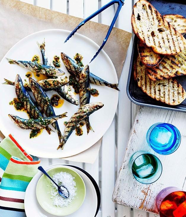 **Grilled sardine crostini with chimichurri**