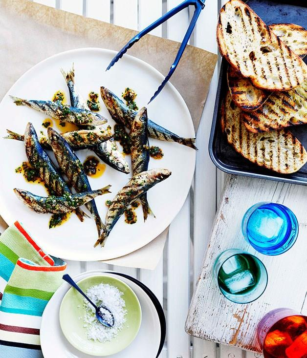 "[**Grilled sardine crostini with chimichurri**](https://www.gourmettraveller.com.au/recipes/browse-all/grilled-sardine-crostini-with-chimichurri-10363|target=""_blank"")"