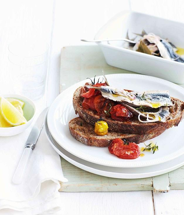 "[**Quick-pickled sardines with crushed roast cherry tomatoes**](https://www.gourmettraveller.com.au/recipes/fast-recipes/quick-pickled-sardines-with-crushed-roast-cherry-tomatoes-13296|target=""_blank"")"
