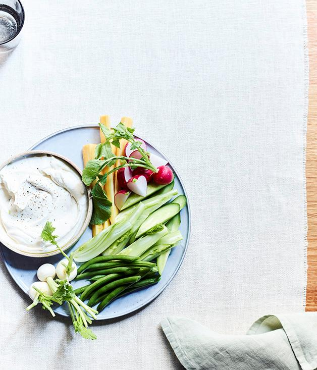 """[Whipped cod roe and raw vegetables](https://www.gourmettraveller.com.au/recipes/chefs-recipes/whipped-cod-roe-and-raw-vegetables-15544