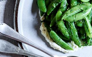 Sugar snap, lime, ricotta and fines herbes salad by Dave Verheul