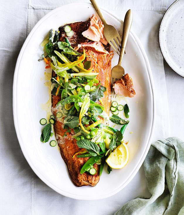 """**[Smoked ocean trout with beans, peas and mint](https://www.gourmettraveller.com.au/recipes/healthy-recipes/smoked-ocean-trout-with-beans-peas-and-mint-12962