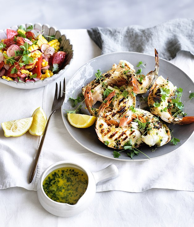 Barbecued lobster tails with lemon drawn butter and corn-radish salad