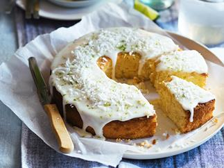 Lime and coconut cake with pineapple glaze